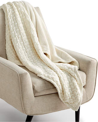 "Martha Stewart Collection Sweaterknit Lattice Reversible 50"" x 60"" Faux-Fur Throw"