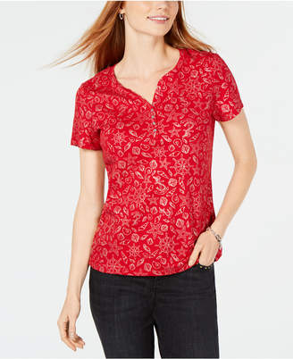 Karen Scott Foil-Print Split-Neck T-Shirt