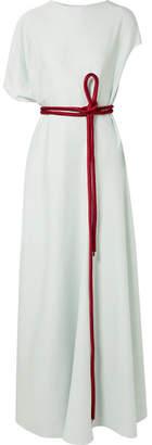 The Row Cilida Asymmetric Silk-blend Chiffon Gown - Sky blue