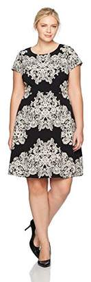 Adrianna Papell Women's Size Plus Lace Printed Fit & Flare