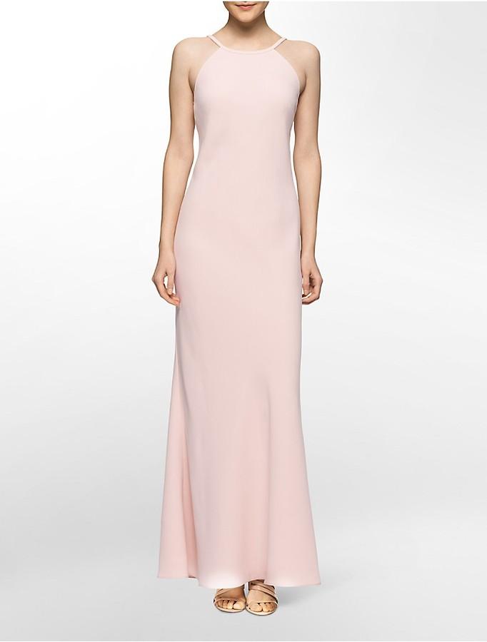 Calvin KleinLow Back Crepe Gown