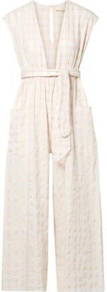 Mara Hoffman Whitney Checked Organic Cotton-canvas Jumpsuit - White