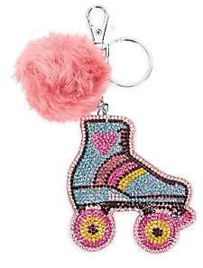 Bari Lynn Roller Skate Pom-Pom Fur Keychain