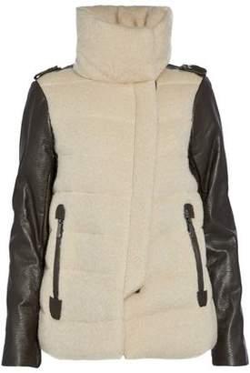 Ashley B. Leather-Paneled Wool-Blend Jacket