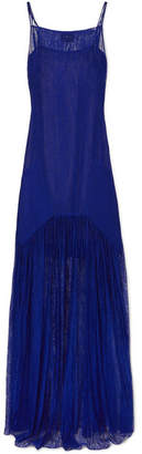 Akris Pleated Lace Maxi Dress - Cobalt blue