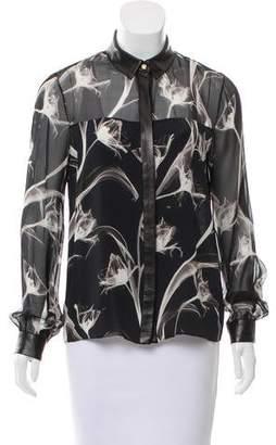 Jason Wu Leather-Trimmed Silk Top