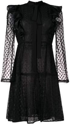 Giamba lace embroidered flared dress