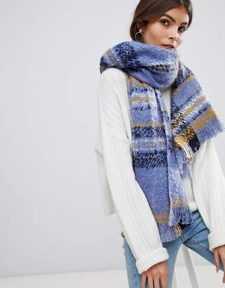 Oasis oversized checked scarf in blue