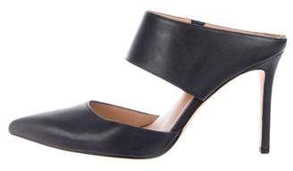 Halston Pointed-Toe Leather Mules