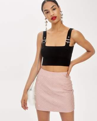 Topshop Crystal Pearl Leather Mini Skirt