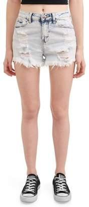 Almost Famous Juniors' Distressed Acid Wash Denim Shorts