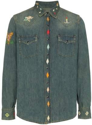 Saint Laurent embroidered denim shirt