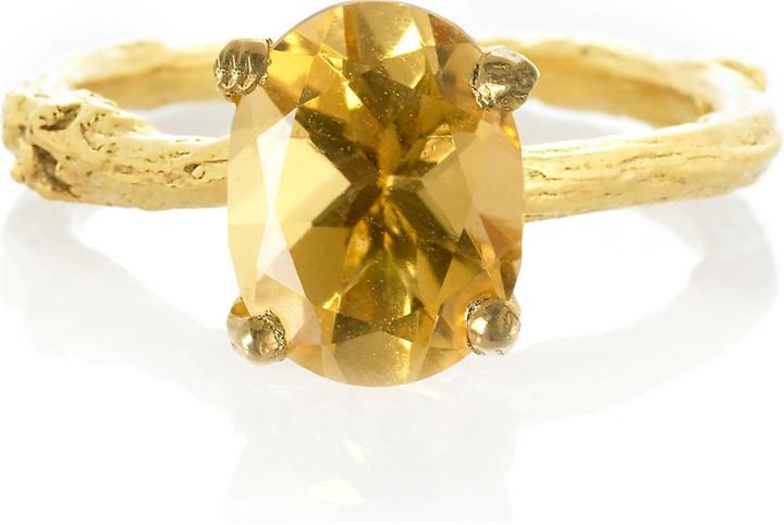 Alex Monroe Citrine twig ring