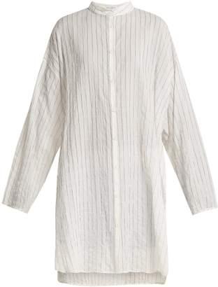 Raey Split-side striped sheer-cotton shirtdress