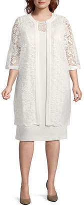 MAYA BROOKE Maya Brooke 3/4 Sleeve Lace Jacket Dress - Plus
