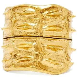 Saint Laurent Anamalier Crocodile Gold Tone Cuff - Womens - Gold