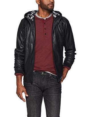 Levi's Men's Perforated Faux Leather Hoody Bomber Jacket