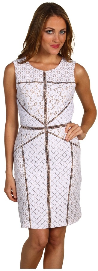 BCBGMAXAZRIA - Andreea Blocked Lace Shift Dress