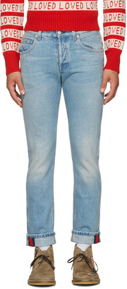 Gucci Blue Tapered Web Jeans $750 thestylecure.com