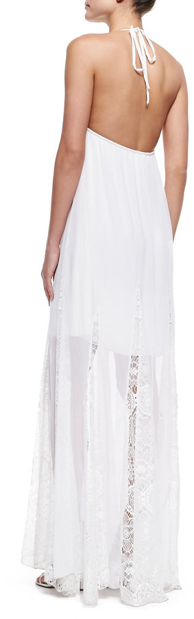 Alice + Olivia McBain Halter Lace Maxi Dress