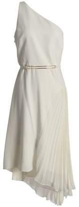 Halston One-Shoulder Asymmetric Pleated Chiffon-Paneled Crepe Dress