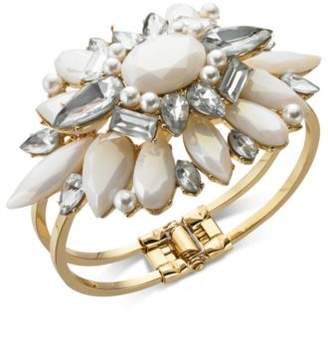 INC International Concepts I.N.C. Rose Gold-Tone Crystal & Imitation Pearl Cuff Bracelet, Created for Macy's