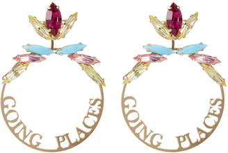 Anton Heunis Detachable glass crystal slogan hoop earrings