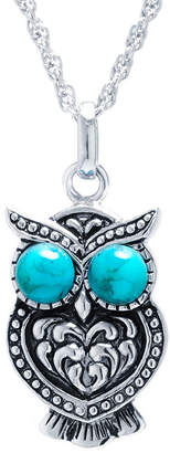 FINE JEWELRY Enhanced Turquoise Sterling Silver Owl Pendant Necklace