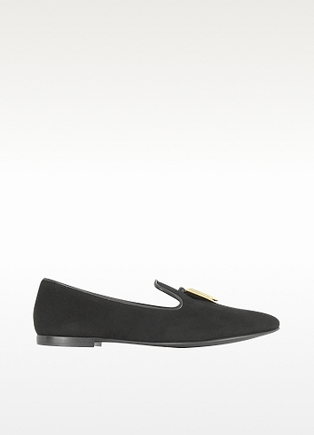 Giuseppe Zanotti Black Suede Loafer w/Golden Hardware