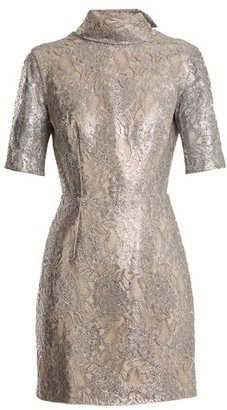 Emilia Wickstead Pearl Floral Lace Mini Dress - Womens - Silver