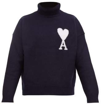 Ami De Cur Intarsia Wool Roll Neck Sweater - Mens - Navy