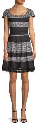 Donna Ricco Printed Short-Sleeve Fit-&-Flare Dress