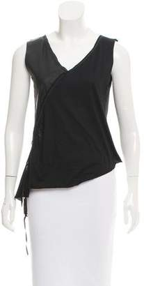 Hache Leather-Paneled Fringe-Trimmed Top w/ Tags