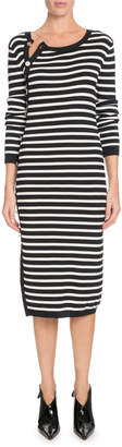 Altuzarra Button-Side Crewneck Long-Sleeve Striped Knit Sweaterdress