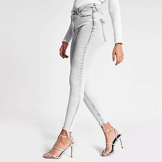 River Island Grey Hailey high rise acid jeans