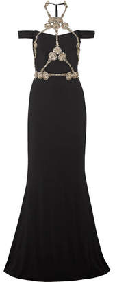 Reem Acra - Cold-shoulder Embellished Silk-crepe Gown - Black