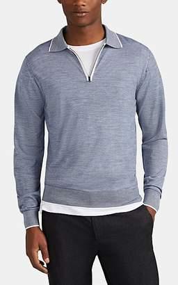 Luciano Barbera Men's Zip-Front Wool Long-Sleeve Polo Shirt - Blue