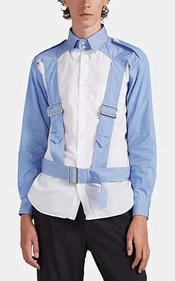 Comme des Garcons Men's Striped Cotton Harness Shirt - Navy