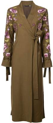 Josie Natori embroidered tie front duster coat