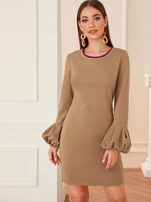 Shein Lantern Sleeve Pencil Dress