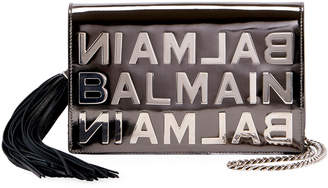 Balmain Pochette Logo Mirror Leather Crossbody Bag