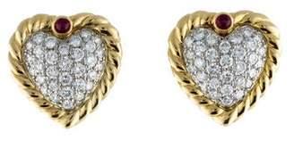 Diamond & Ruby Heart Earrings