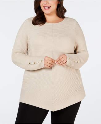 Alfani Plus Size Metallic Ribbed-Knit Tunic Sweater