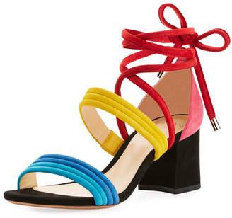 Alexandre Birman Aurora Colorblock Suede Block-Heel Sandal, Multi