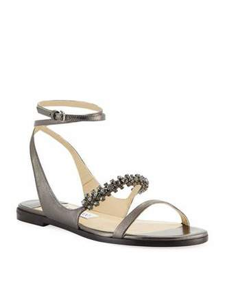 Jimmy Choo Abira Metallic Leather Jeweled Sandals