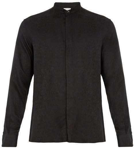 Saint Laurent Single-cuff silk-jacquard shirt