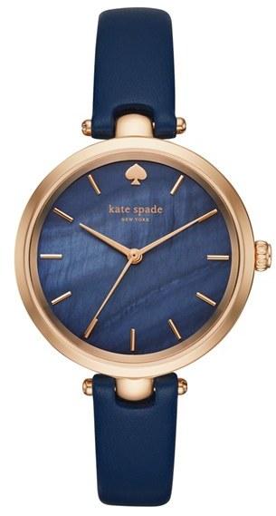 Kate SpadeWomen's Kate Spade New York 'Holland' Round Leather Strap Watch, 34Mm