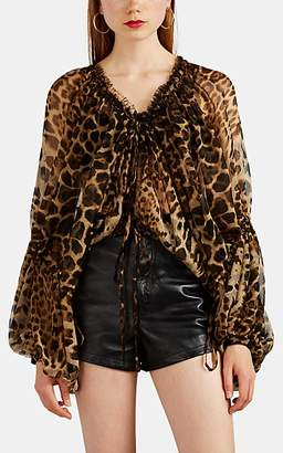29acf6c5d8d575 Saint Laurent Women s Leopard-Print Silk Chiffon Peasant Blouse - Black