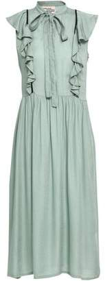 Baum und Pferdgarten Aishah Ruffle-Trimmed Printed Seersucker Dress