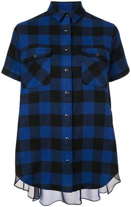 Sacai sheer panel plaid short sleeve shirt